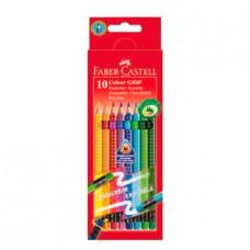 Карандаши  цветн 10цв GRIP 2001 с ластиками, набор цветов, в картонной коробке 116613