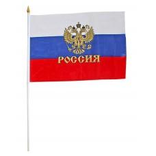 Флаг 30*45 с золотым гербом со штоком ткань, пластик  261021
